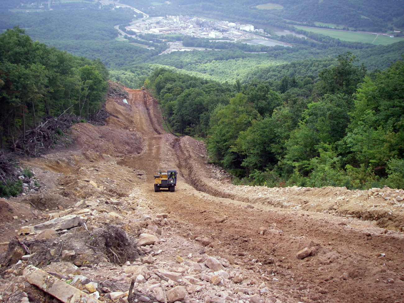 Open trench and failed erosion control. (Celanese Pipeline, Virginia)