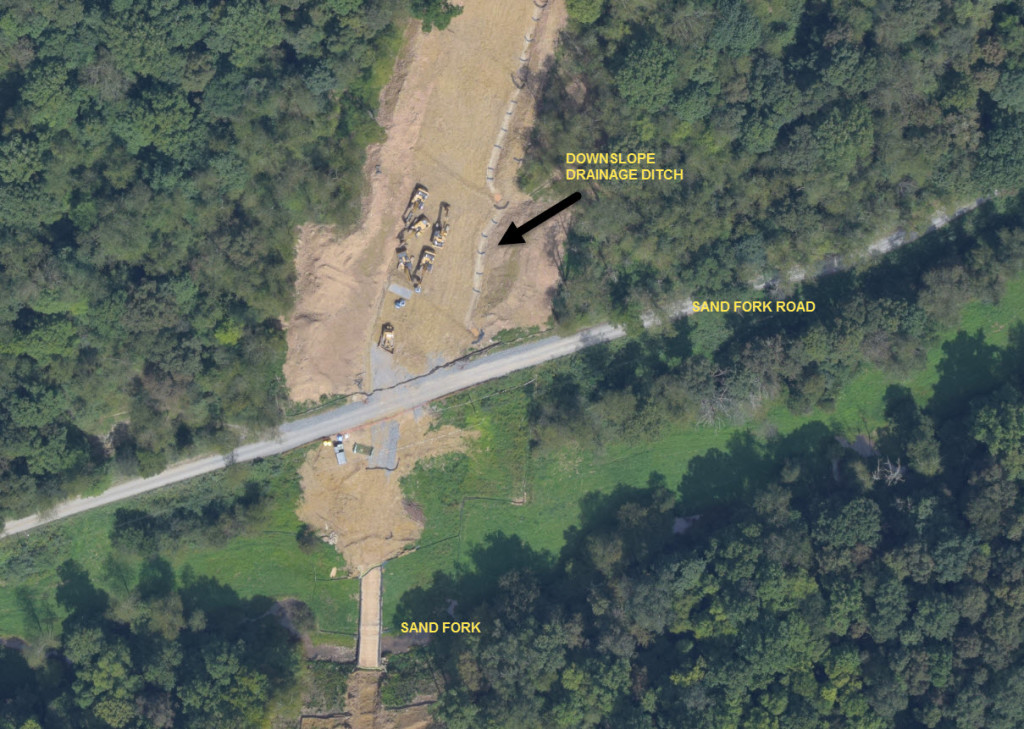 Noncompliant drainage structure observed on 9/5/18 surveillance flight (Lewis County, WV,  near ACP Milepost 1)